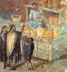 Bread seller, fresco from Pompeii, Archaeological Museum of Naples (@romanhistory1) | Twitter