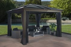 Exterior: Unfinished Patio Chair With Outdoor Coffee Table Wood Shingle Roof Forestview Pavilions Metal Gazebo Canopies Are Both Elegant And Durable Canvas Interior Wall Tent Frame from Modern Metal Gazebo