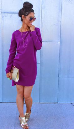 Colors combine the purple dress 45 amazing photos which color suits purple clothes beautiful purple. Dope Fashion, Fashion Killa, Womens Fashion, Cute Dresses, Casual Dresses, Cute Outfits, Style And Grace, My Style, Estilo Glamour