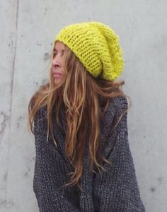 d02cca5d9a3 Neon hat Yellow Beanie hat Neon Yellow chunky hand knit by ileaiye Slouchy  Beanie