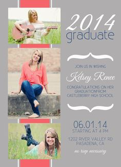 Senior Graduation Announcement 2014 - digital, photo strip, 2014, cute, graduate, modern, class of 2014, coral, navy on Etsy, $15.00