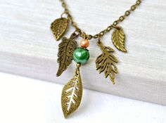 Tree leaves green pearl affordable necklace by artemisartdesign, $0.20