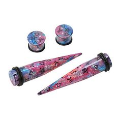 Acrylic Galaxy Astrology Taper And Plug 4 Pack Hot Topic ($13) ❤ liked on Polyvore featuring accessories