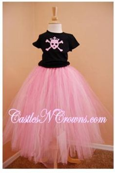 #tutus Pirate Rock Star Skull and Crossbones Tshirt with long Pink Tutu in girls size 4-5. Too cute! Kids Costumes.