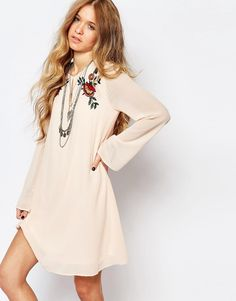 Glamorous+Bell+Sleeve+Smock+Dress+With+Festival+Embroidery
