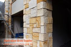 Australian Sandstone Colonial Walling made up of natural sandstone cladding. Available in 4 colors. Sandstone Corner &Sandstone Capping are available too. Sandstone Cladding, Natural Stone Cladding, Sandstone Paving, Natural Stone Wall, Natural Stones, Landscape Design, Garden Design, Sandstone Fireplace, Stone Quarry