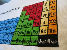 Periodic Table of Elements Cross Stitch Diy Table, Periodic Table, Geek Stuff, Embroidery, Cross Stitches, Projects, School, Periotic Table, Geek Things