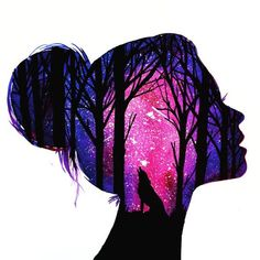Fabulous Silhouette Painting by Danielle Foye. UK based self employed artist Danielle Foye, has an eye for creating a wide range of watercolor paintings and designs. Cute Wallpaper Backgrounds, Galaxy Wallpaper, Colorful Wallpaper, Art Afro, Silhouette Painting, Girl Silhouette, Galaxy Art, Pastel Art, Oil Pastel Paintings
