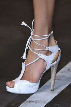 Hermes White Leather Ankle Tie High Heels