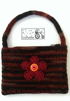 Boho Coin Purse, Cute Knitted Flower, Earthy Brown, Tiger Stripe