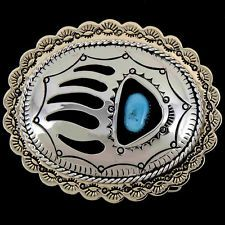 Navajo Turquoise Silver and Gold Bear Paw Belt Buckle