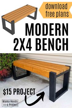 Simple bench plans only require five and hours! This modern bench is a great beginner woodworking project for super cheap outdoor seating and DIY front porch curb appeal.er with a set Woodworking Bench Plans, Beginner Woodworking Projects, Woodworking Tools, Woodworking Equipment, Woodworking Magazine, Woodworking Enthusiasts, Japanese Woodworking, Workbench Plans, Simple Woodworking Ideas
