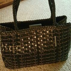 Elliott Lucca Black Woven Leather Bag Studded bottom black woven leather bag with braided handles in perfect condition Elliott Lucca Bags Shoulder Bags