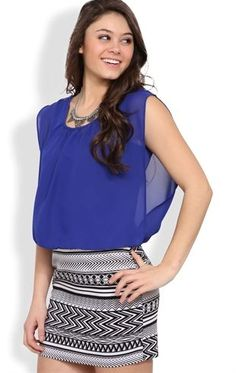 Deb Shops Sleeveless Blouson Dress with Tribal Printed Banded Skirt $24.67