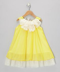 C'est Chouette. Yellow Flower Chiffon Swing Dress - Flowing, modern style that showcases a hopping, skipping child. Bright and sunny pure color as childhood should be.