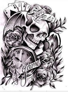 Cards,Skull and Pocket Clock