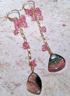 Dripping pink Topaz Watermelon Tourmaline 14K Gold  by gembliss