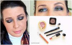 Makeup look in midnight blue and gold colours, described in English and French for the Monday Shadow Challenge. Look de maquillage en couleur bleu nuit pour le Défi du lundi.