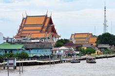 Wat Kalaya view on Memorial Bridge. Chaow Phraya riverside, #Bangkok Thailand #Travel #Thailand ++ English language support >> http://ThailandHolidays7.com