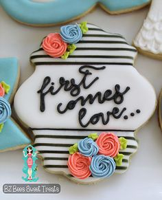 Floral, black and white engagement cookies, wedding cookies- BZ Bees Sweet Treats- Custom Cookies NJ