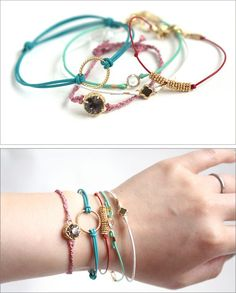 Tutorial : Leather Cord Bracelets - these are 10-minute projects! #handmade #jewelry #DIY