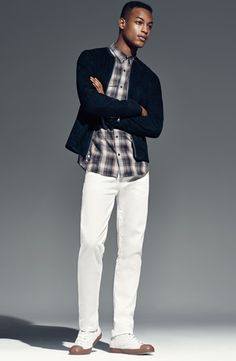 Fall 2014 mens outfit, plaid, white pants, fresh look