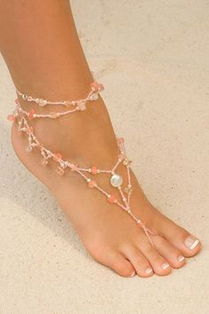 Foot Jewelry w Dangles - Pink  I think I will make myself another pair like these now that I have the beads!
