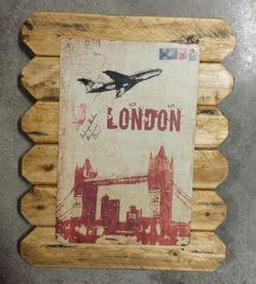 London Retro Metal Poster Framed in Distressed Pinewood by ArtMaxAntiques on Etsy