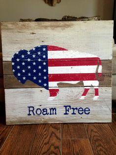 Barn wood American Flag Buffalo Roam Free art sign by BarnBandits