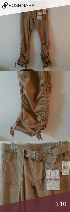 NWT Khaki juniors capri NWT Khaki capri. Has beautiful side ties. Shorts