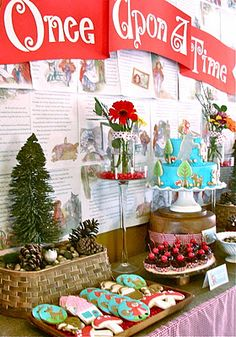 Oh Sugar Events: Little Red Riding Hood party. Lovely backdrop and generally great party. Storybook Party, Storybook Baby Shower, Fairytale Party, Red Riding Hood Party, Book Shower, Baby Girl Shower Themes, 4th Birthday Parties, 5th Birthday, Birthday Ideas
