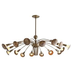 Arteriors Valdez 16L Vintage Brass Adjustable Arm Chandelier @Zinc_Door