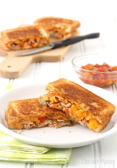 Salsa Chicken Grilled Cheese Sandwiches