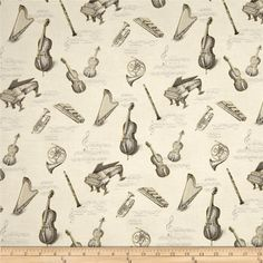 All That Jazz Metallic Notes & Instruments Grey from @fabricdotcom  Designed by Phoenix Creative for Robert Kaufman Fabrics, this cotton print fabric is perfect for quilting, apparel and home décor accents. Colors includegrey, cream, and metallic gold.