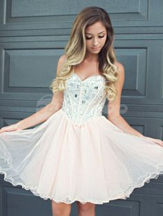 CUTE A-LINE SWEETHEART NECKLINE TULLE SHORT PROM DRESS, HOMECOMING DRESS
