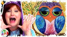 Colorful Owl painting lesson for beginners a fun online easy how to tuto...