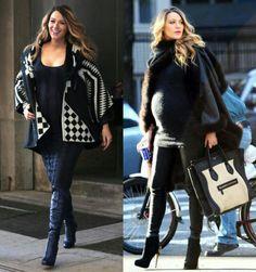 E tem mais inspirações da Blake pra vocês!❤ Dois lindos looks de inverno para gravidinhas! #blakelively #fashion #pregnant #style