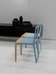 A new chair by Branca Lisboa, pale wood with dipped rubber colour. Photo taken at Stockholm Furniture Fair 2012 by Ali.