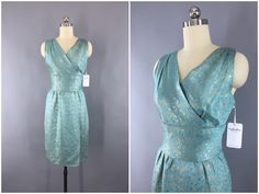 Vintage 1960s Dress / 1950s Cocktail Dress / 50s Party Dress / Reception Wedding Dress / 60s Dress / Aqua Blue & Gold / Size XXS 0 by ThisBlueBird on Etsy https://www.etsy.com/listing/289831087/vintage-1960s-dress-1950s-cocktail-dress