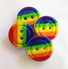 Rainbow buttons polymer clay handmade craft buttons  ( 2 cm) via Etsy