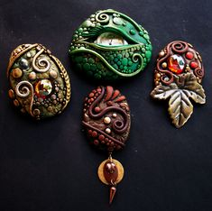 Second group of Brooches Natural Earthy colors | Flickr - Photo Sharing!
