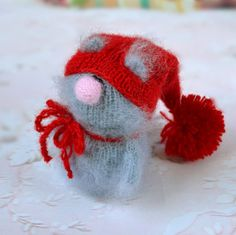 SALE grey Cat in red Hat  Hand-Knitted cat Toy от MiracleStore