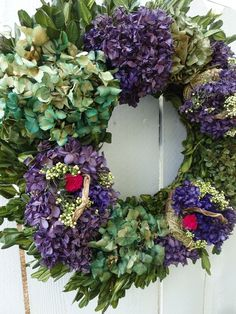 Purple Wreath, Lavender Wreath, Floral Wreath, Boxwood Wreath, Hydrangea Wreath, Wreaths For Front Door, Door Wreaths, Wreath Forms, Easter Wreaths