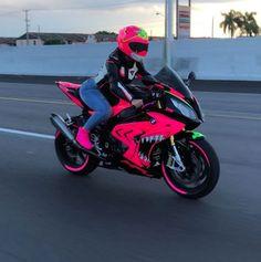 Street Bike Helmets, Dirt Bike Helmets, Street Bikes, Dirt Bikes, Pink Motorcycle, Motorbike Girl, Dirt Bike Girl, Fancy Cars, Cute Cars