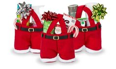 Quirky red holiday gift bags in the shape of Santa's famous pants and suspenders