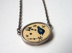 Handmade Miro-esque painted bone pendant