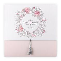 Powder pink wedding invitation  Flower wreath/Silk white & grey tassel