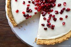 Skip the oven and whip up this recipe for the easiest, creamiest no-bake cheesecake topped with pomegranate seeds.