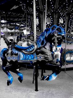 blue color splash carousel splash of color Color Splash, Color Pop, Splash Photography, Black And White Photography, Color Photography, Candy Pink, Carosel Horse, Painted Pony, Black White