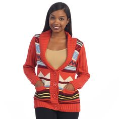 Add vibrancy to your ensemble with this red tribal knit cardigan by Hadari. Designed to showcase your stylish flair and keep you warm and cozy on chilly days, this cardigan exudes a preppy look with an exotic twist with the tribal pattern.